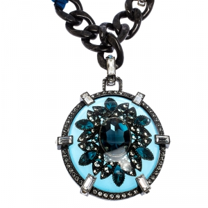 Lanvin Two Tone Chain Crystal Embellished Cabochon Pendant Ribbon Necklace
