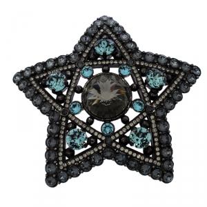 Lanvin Crystal Embellished Black Tone Star Brooch / Pendant