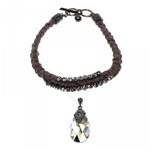 Lanvin Crystal Embellished Fabric Woven Statement Toggle Necklace