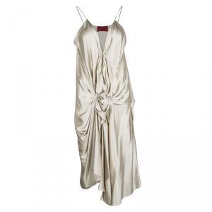 Lanvin Beige Silk Satin Draped Zip Detail Sleeveless Dress L