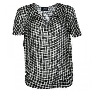 Lanvin Monochrome Textured Houndstooth Pattern Short Sleeve Top S