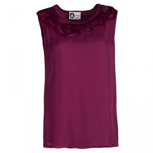 Lanvin Dark Pink Ruffle Detail Silk Sleeveless Top S