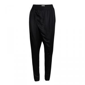 Lanvin Black Satin Draped Crossover Front Detail Pants S