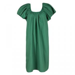 Lanvin Green Gathered Cotton Dress L