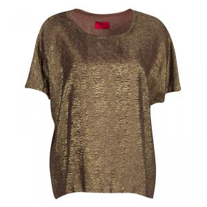 Lanvin Textured Gold Frayed Edge Detail Short Sleeve Blouse XL