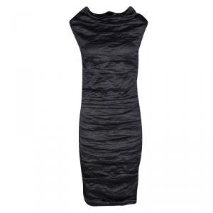 Lanvin Metallic Grey Textured Ruched Sleeveless Dress S