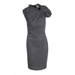 Lanvin X Acne Grey Washed Denim Twist Front Detail Sleeveless Dress M