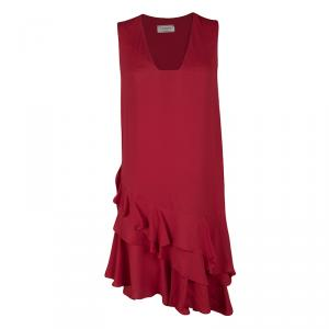Lanvin Red Ruffled Bottom Sleeveless Dress S