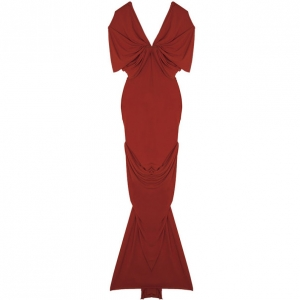 Lanvin Gathered Red Mid Length Dress M