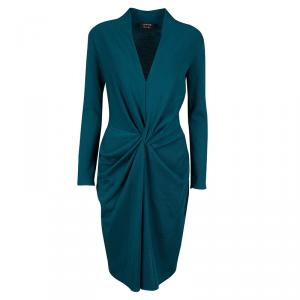 Lanvin Teal Blue Wool Twist Front Long Sleeve Dress M