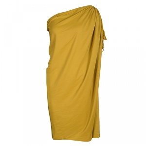 Lanvin Mustard Yellow One Shoulder Tie Detail Draped Dress M