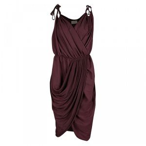 Lanvin Burgundy Tie Detail Sleeveless Draped Dress M