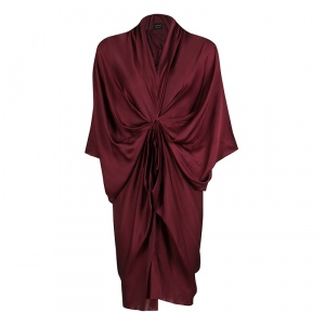 Lanvin Maroon Draped Silk Dress S