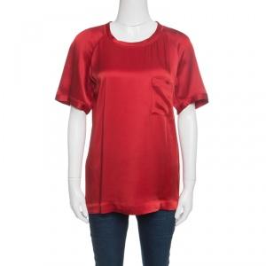 Lanvin Red Short Sleeve Crew Neck Top M