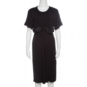 Lanvin Black Raw Edged Bow Detail Short Sleeve Dress M