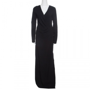 Lanvin Black Knit Drape Detail Long Sleeve Maxi Dress M