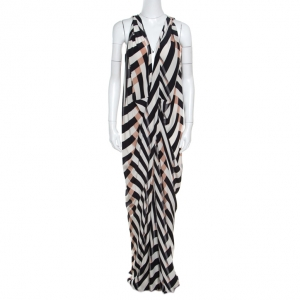 Lanvin Multicolor Chevron Patterned Silk Draped Maxi Dress L