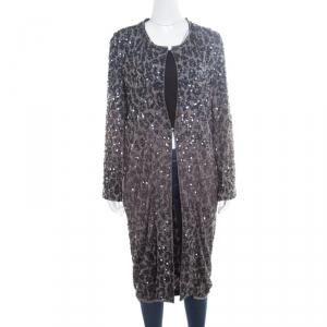 Lanvin Grey Sequin Embellished Long Jacket M