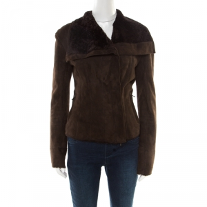 Lanvin Chocolate Brown Lambskin Leather Shearling Lined Biker Jacket M - used