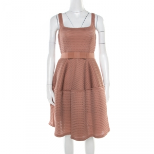 Lanvin Dusty Rose Perforated Raw Edge Detail Fit and Flare Sleeveless Dress S