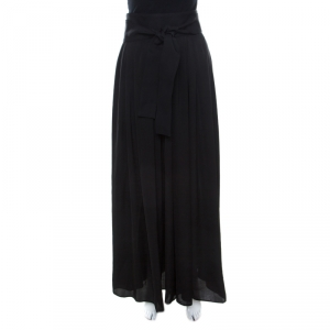 Lanvin Black Crinkled Satin Effect Pleated Tie Up Detail Palazzo Pants M