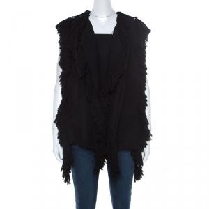 Lanvin Black Fringe Edge Wool Blend Knit Vest M