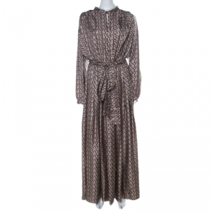 Lanvin Beige Printed Silk Front Slit Neckline Belted Maxi Dress L