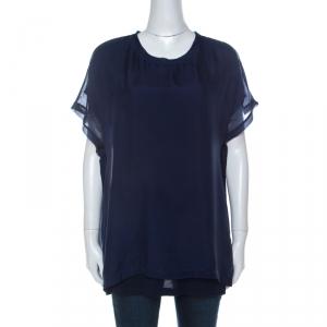 Lanvin Navy Blue Silk Chiffon Raw Edge Detail Short Sleeve Top XL