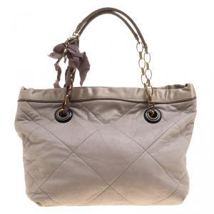 Lanvin Grey Leather Amalia Cabas Tote
