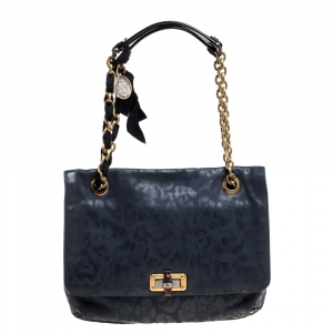 Lanvin Navy Blue Leopard Print Leather Medium Happy Shoulder Bag