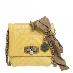 Lanvin Yellow Quilted Leather Mini Happy Crossbody Bag
