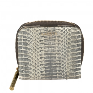 Lanvin Grey/White Python Zip Around Compact Wallet