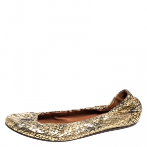 Lanvin Gold Snakeskin Embossed Leather Ballerina Flats Size 37 - used