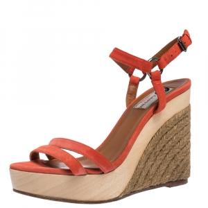 Lanvin Red Suede Espadrille Wedge Platform Ankle Strap Sandals Size 37.5 - used