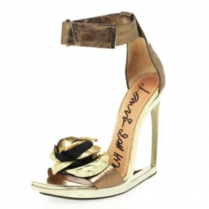 Lanvin Frame Wedge Metallic Leather Flower Embellished Sandals Size 36