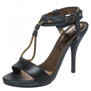 Lanvin Dark Green Leather and Elastic Metal String T-Strap Open Toe Sandals Size 35.5 - used