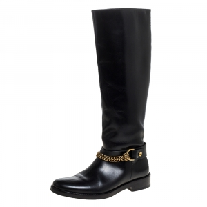 Lanvin Black Leather Chain Embellished Knee High Boots Size 36.5
