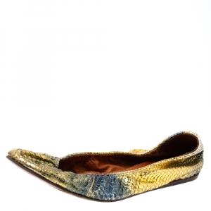 Lanvin Metallic Multicolor Snakeskin Embossed Leather Scrunch Ballet Flats Size 38