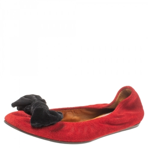 Lanvin Red Suede Leather Bow Scrunch Ballet Flats Size 38