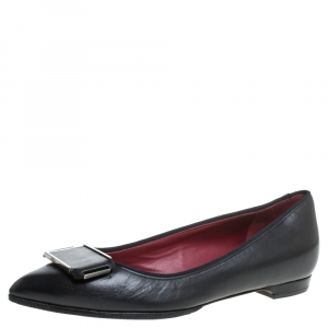 Lanvin Black Leather Pointed Toe Slip on Ballet Flats Size 36.5
