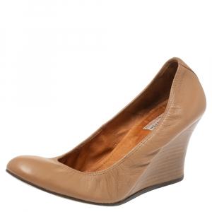 Lanvin Nude Beige Leather Scrunch Wooden Wedge Pumps Size 40