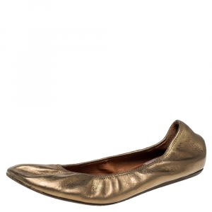 Lanvin Metallic Gold Leather Ballet Flats Size 40 - used