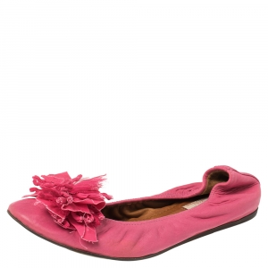 Lanvin Pink Leather Ballet Flats Size 40