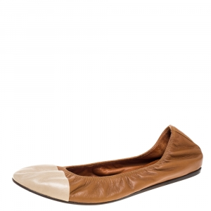 Lanvin Brown/White Leather Scrunch Ballet Flats Size 42 - used