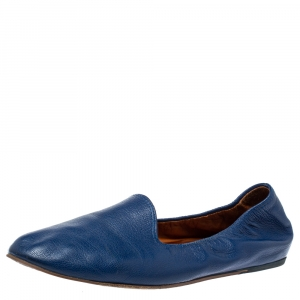 Lanvin Blue Leather Scrunch Smoking Slippers Size 37.5