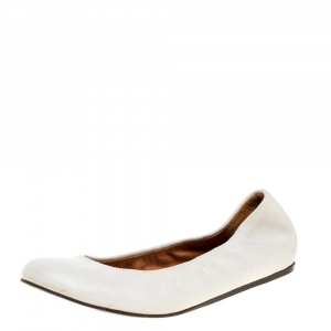 Lanvin White Leather Scrunch Ballet Flats Size 37.5 - used