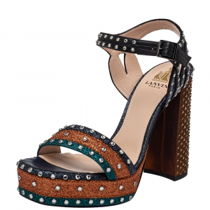 Lanvin Multicolor Leather And Glitter Crystal Embellishment Platform Ankle Strap Sandals Size 38.5
