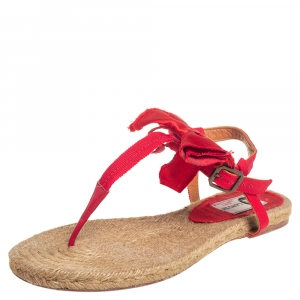 Lanvin Red Leather And Satin Bow Espadrille Thong Flat Sandals Size 39 - used