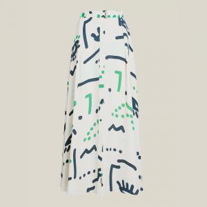LAYEUR Cream Borden Button Down Printed Maxi Skirt FR 50