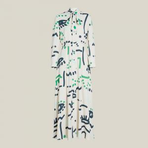 LAYEUR Cream Whittle Tie-Neck Printed Maxi Dress FR 48